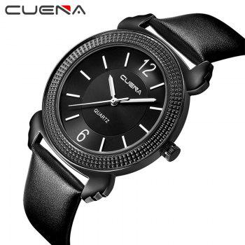 CUENA 6616P Genuine Leather Band Women Quartz Watch -  BLACK