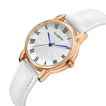 CUENA 6619P Genuine Leather Band Fashion Casual Quartz for Women - WHITE WHITE