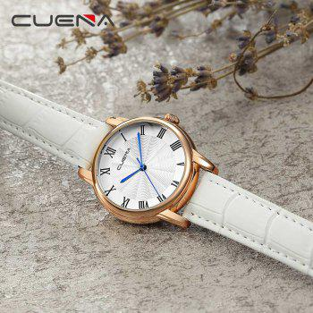 CUENA 6619P Genuine Leather Band Fashion Casual Quartz for Women -  WHITE