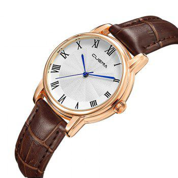 CUENA 6619P Genuine Leather Band Fashion Casual Quartz for Women - BROWN BROWN
