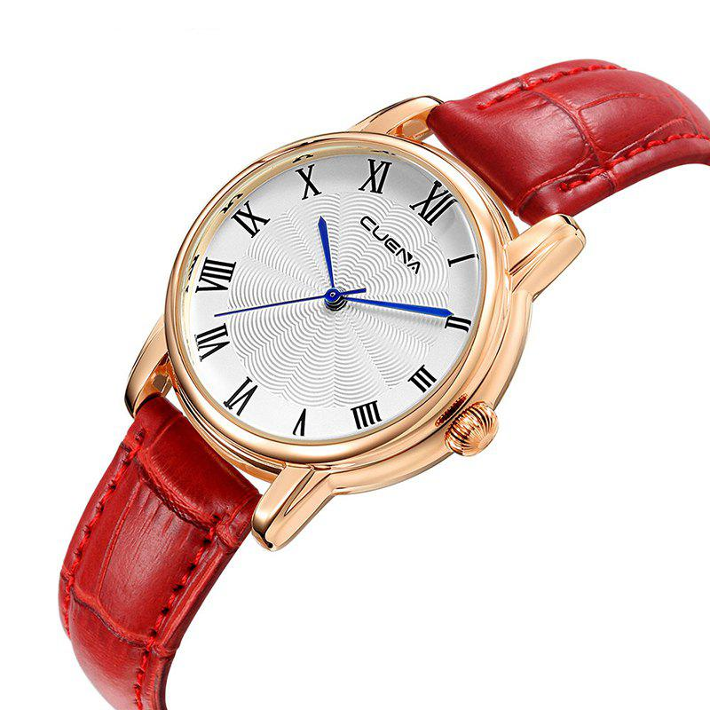CUENA 6619P Genuine Leather Band Fashion Casual Quartz for Women - RED