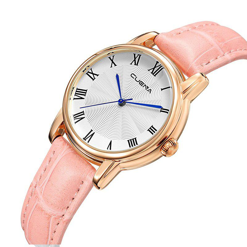 CUENA 6619P Genuine Leather Band Fashion Casual Quartz for Women - PINK