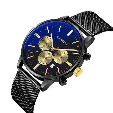 CUENA 6813G Men Multifunctional Alloy Case Quartz Watch with Stainless Steel Band - BLACK GOLD