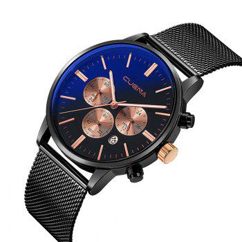 CUENA 6813G Men Multifunctional Alloy Case Quartz Watch with Stainless Steel Band - BLACK ROSE GOLD BLACK ROSE GOLD