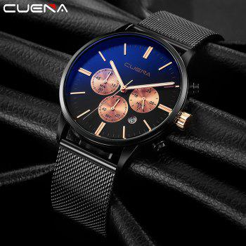 CUENA 6813G Men Multifunctional Alloy Case Quartz Watch with Stainless Steel Band -  BLACK ROSE GOLD
