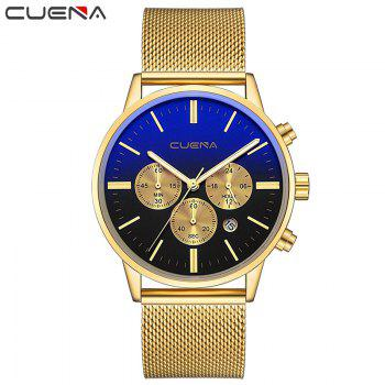 CUENA 6813G Men Multifunctional Alloy Case Quartz Watch with Stainless Steel Band - GOLD BLACK
