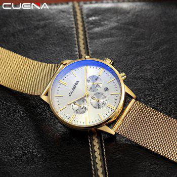 CUENA 6813G Men Multifunctional Alloy Case Quartz Watch with Stainless Steel Band - GOLD WHITE