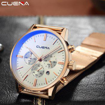 CUENA 6813G Men Multifunctional Alloy Case Quartz Watch with Stainless Steel Band - ROSE GOLD WHITE