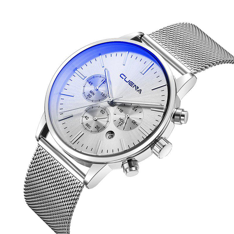 CUENA 6813G Men Multifunctional Alloy Case Quartz Watch with Stainless Steel Band - SILVER WHITE