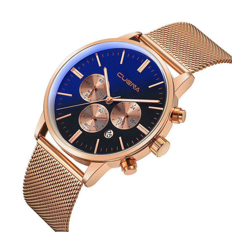 CUENA 6813G Men Multifunctional Alloy Case Quartz Watch with Stainless Steel Band - BLACK ROSE GOLDEN
