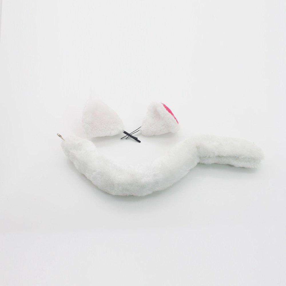 Cosplay Set Ears Tail Costumes Accessories White Ears  Animal Role Play Props - WHITE ONE SIZE