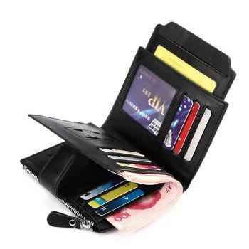 HAUT TON Genuine Leather Bifold Trifold Wallets for Men Removable Flipout Card Holder - BLACK BLACK