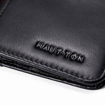 HAUT TON Vintage Leather Long Slim Bifold Wallets For Men Boy Card Holder - BLACK 8.5X1X18CM