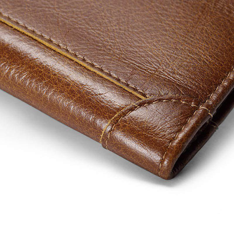 HAUT TON Vintage Leather Long Slim Bifold Wallets For Men Boy Card Holder - BROWN 8.5X1X18CM
