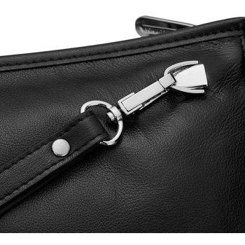 HAUT TON Male Zipper Flexible Leather Handbag - BLACK 24X6.5X14.5CM