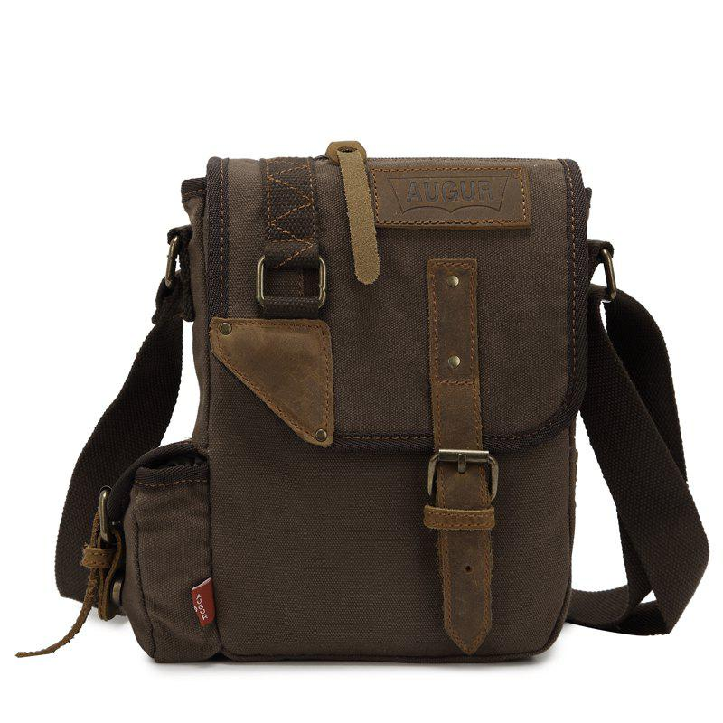 AUGUR Brand Vintage Military Men Messenger Bag Multifunction Canvas Single Mini Shoulder Bags - COFFEE