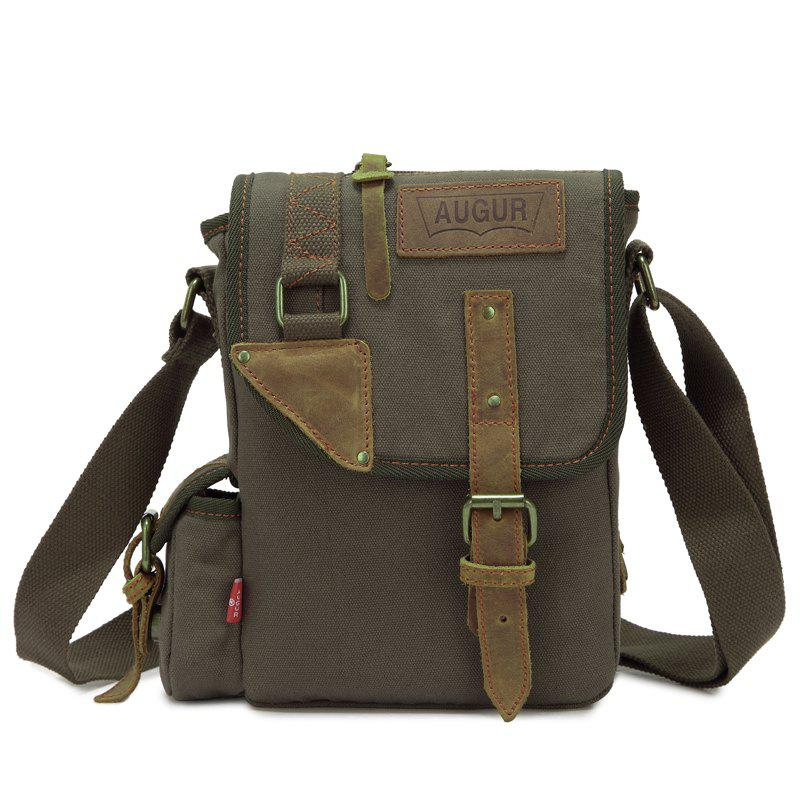 AUGUR Brand Vintage Military Men Messenger Bag Multifunction Canvas Single Mini Shoulder Bags - ARMYGREEN