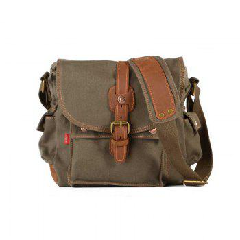 AUGUR Fashion Men Shoulder Bag Canvas Leather Belt Vintage Military Male Small Messenger Casual Travel Crossbody Bags -  ARMYGREEN