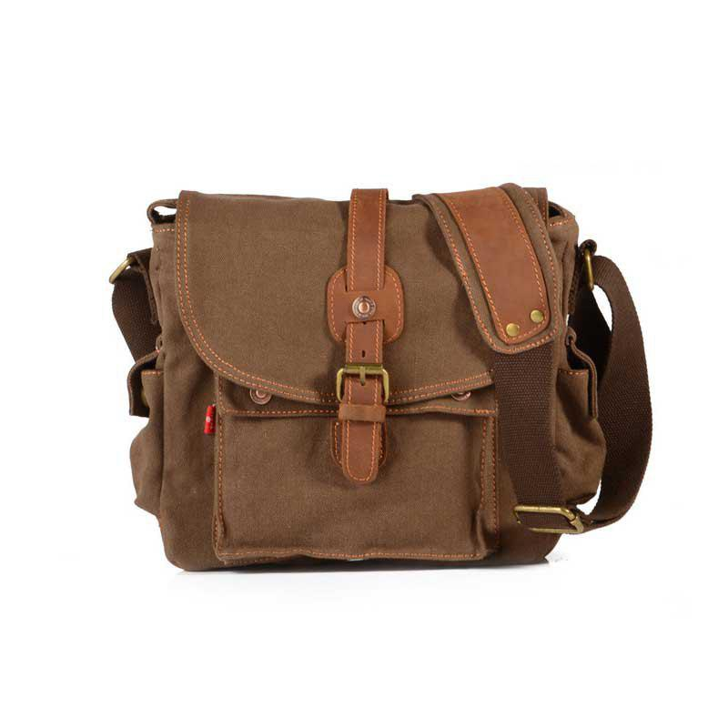 AUGUR Fashion Men Shoulder Bag Canvas Leather Belt Vintage Military Male Small Messenger Casual Travel Crossbody Bags - COFFEE