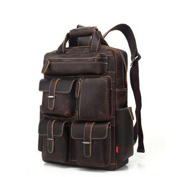 AUGUR Men Backpack Retro Genuine Leather Multi Pocket Waterproof Travelling Large Capacity Bag