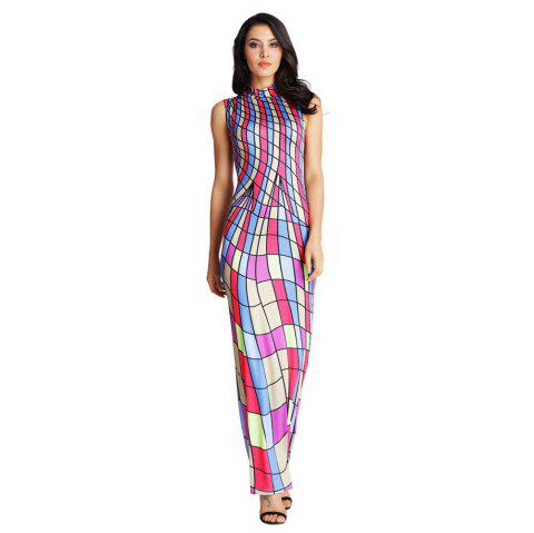 Women'S Color Block Sleeveless Maxi Casual Dresses - CHECKED XL