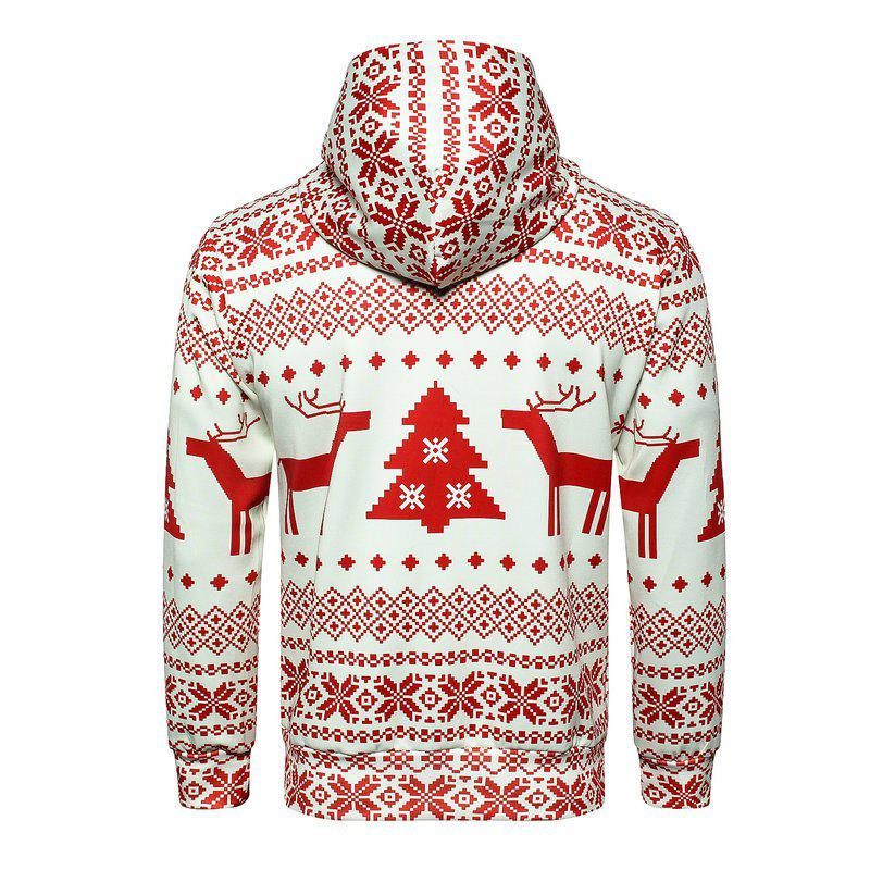 Christmas  Digital Print Pullover Hoodie - RED M