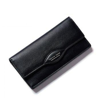 Fashion Women Long Wallets PU Leather High Quality Wallet for Lady - BLACK BLACK