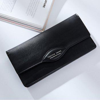 Fashion Women Long Wallets PU Leather High Quality Wallet for Lady -  BLACK