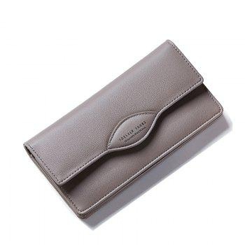 Fashion Women Long Wallets PU Leather High Quality Wallet for Lady - GRAY GRAY
