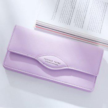 Fashion Women Long Wallets PU Leather High Quality Wallet for Lady - PURPLE