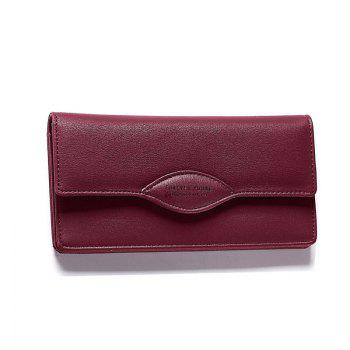 Fashion Women Long Wallets PU Leather High Quality Wallet for Lady - WINE RED