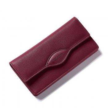 Fashion Women Long Wallets PU Leather High Quality Wallet for Lady - WINE RED WINE RED