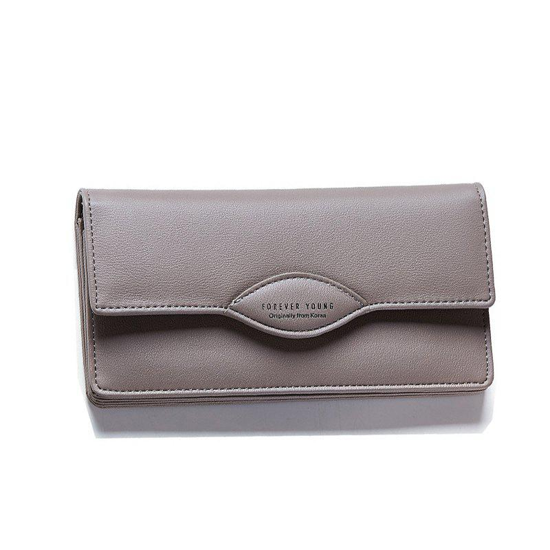 Fashion Women Long Wallets PU Leather High Quality Wallet for Lady - GRAY