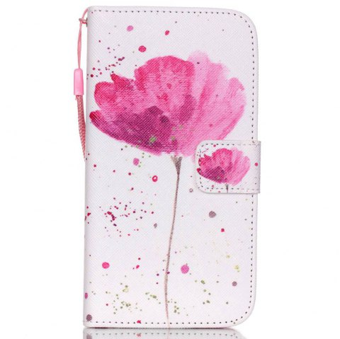 High-Grade Painted PU Phone for Samsung Galaxy S5 - PINK / WHITE