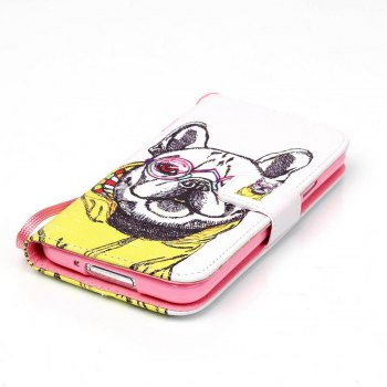 High-Grade Painted PU Phone for Samsung Galaxy S5 - WHITE / YELLOW / GREY