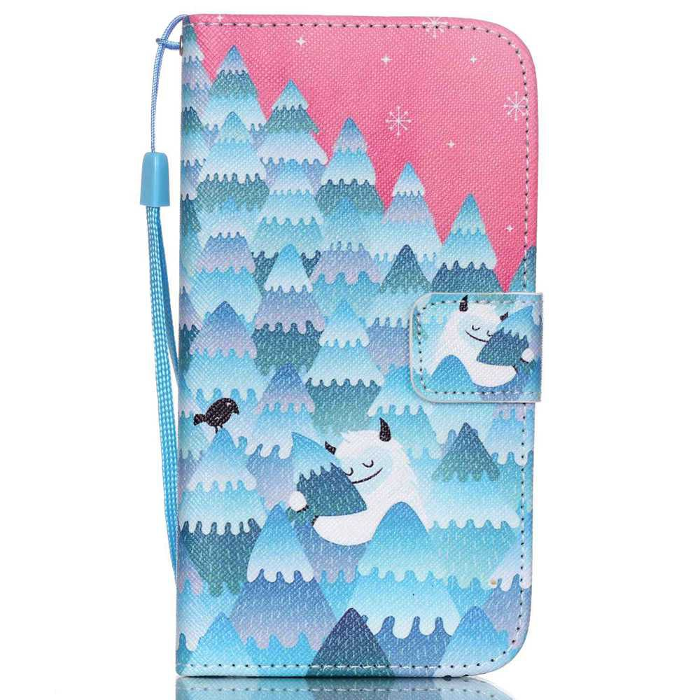 High-Grade Painted PU Phone for Samsung Galaxy S5 - PINKISH BLUE