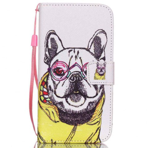 High-Grade Painted PU Phone for Samsung Galaxy S5 Mini - WHITE / YELLOW / GREY