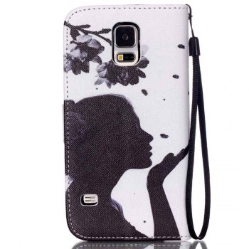 High-Grade Painted PU Phone for Samsung Galaxy S5 Mini -  WHITE GREY