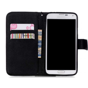 High-Grade Painted PU Phone for Samsung Galaxy S5 Mini - GREY/BLACK
