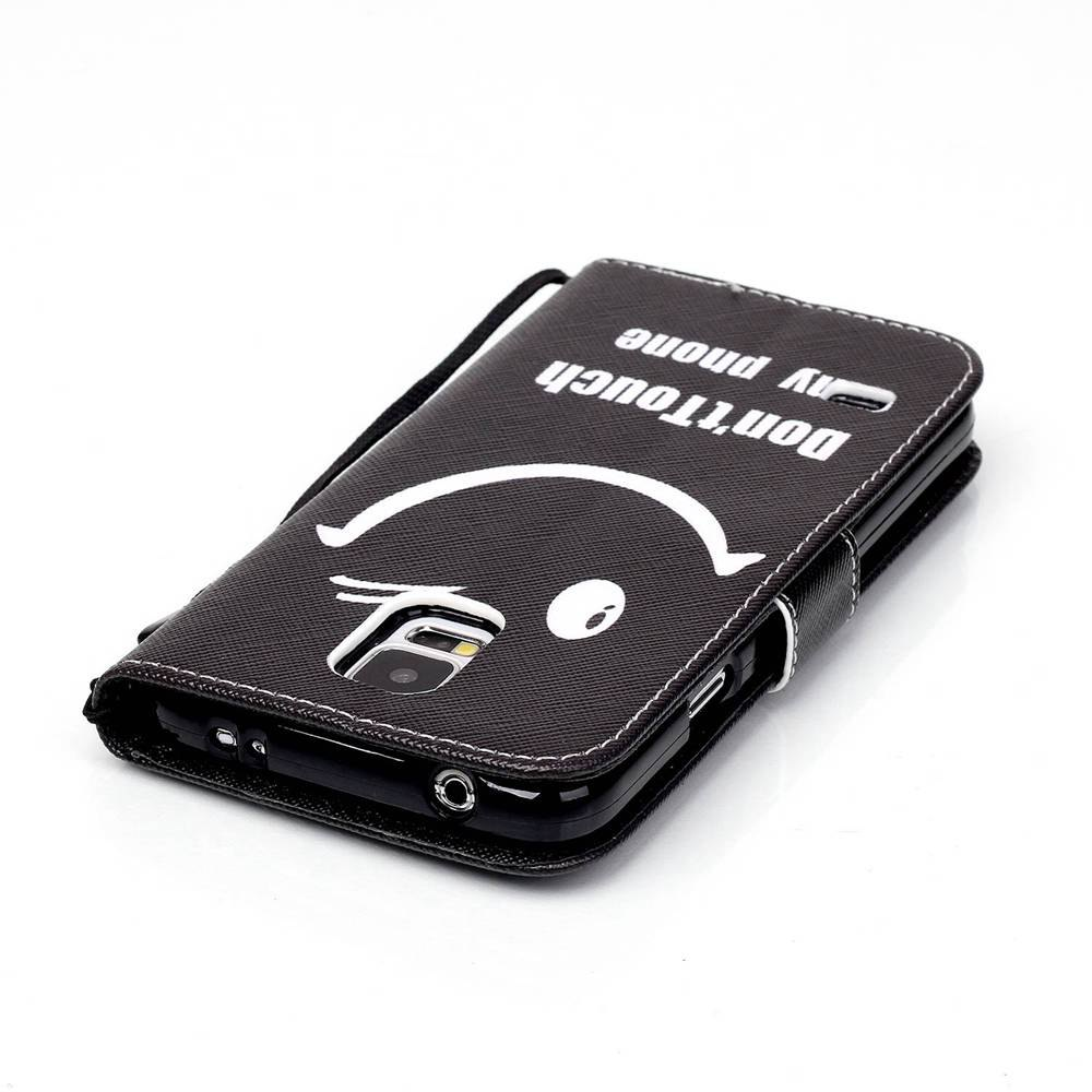 High-Grade Painted PU Phone for Samsung Galaxy S5 Mini - BLACK WHITE