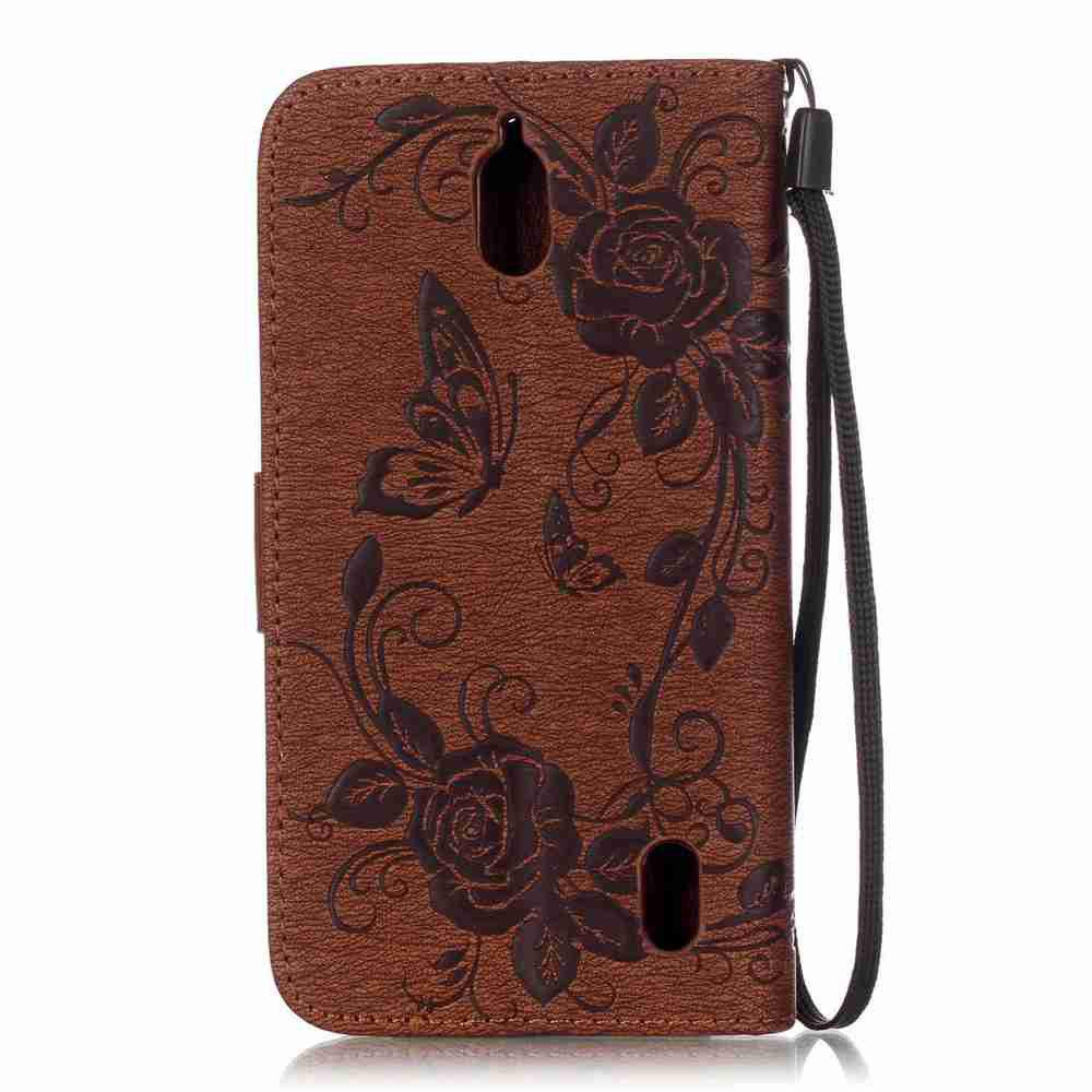Embossed - Butterfly Flower PU Phone Case for  HUAWEI Y625 - BROWN