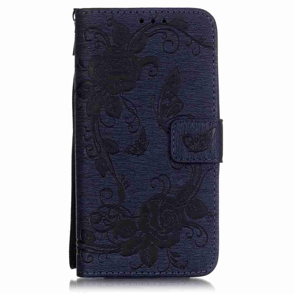 Embossed - Butterfly Flower PU Phone Case for  LG K7 / K8 - CERULEAN