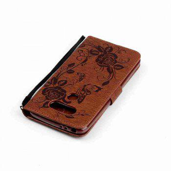 Embossed - Butterfly Flower PU Phone Case for  LG  G5 - BROWN