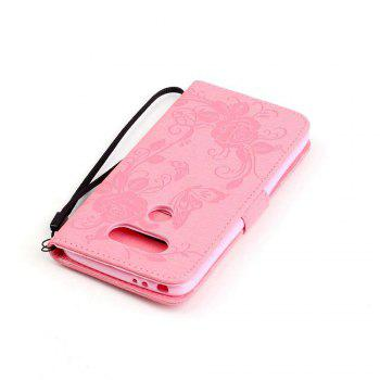 Embossed - Butterfly Flower PU Phone Case for  LG  G5 - PINK