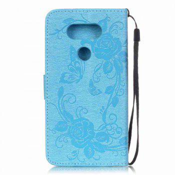 Embossed - Butterfly Flower PU Phone Case for  LG  G5 - BLUE