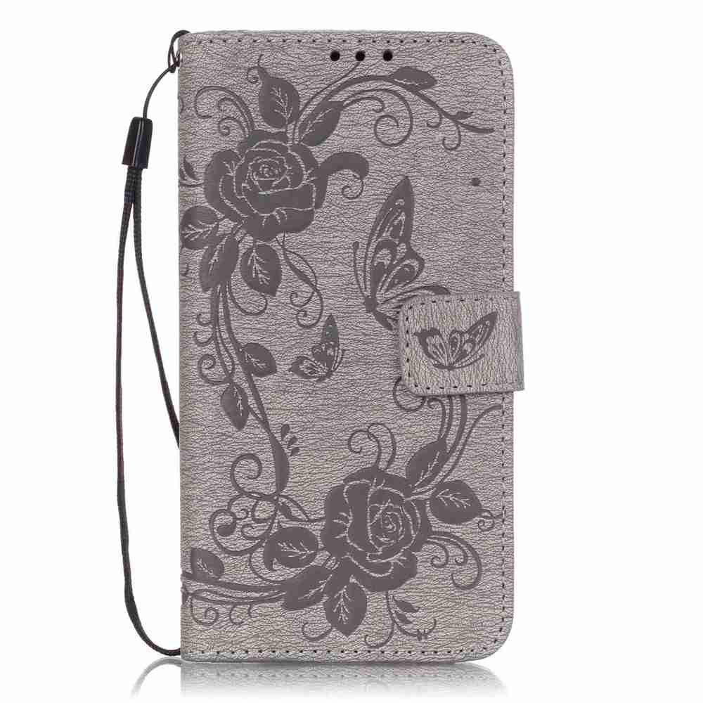 Embossed - Butterfly Flower PU Phone Case for  LG  G5 - GRAY