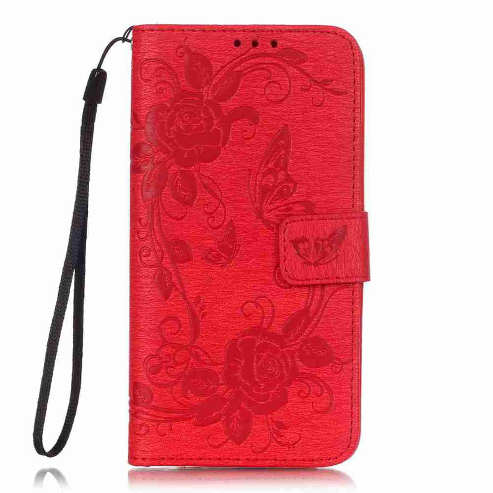 Embossed - Butterfly Flower PU Phone Case for  LG  G5 - RED