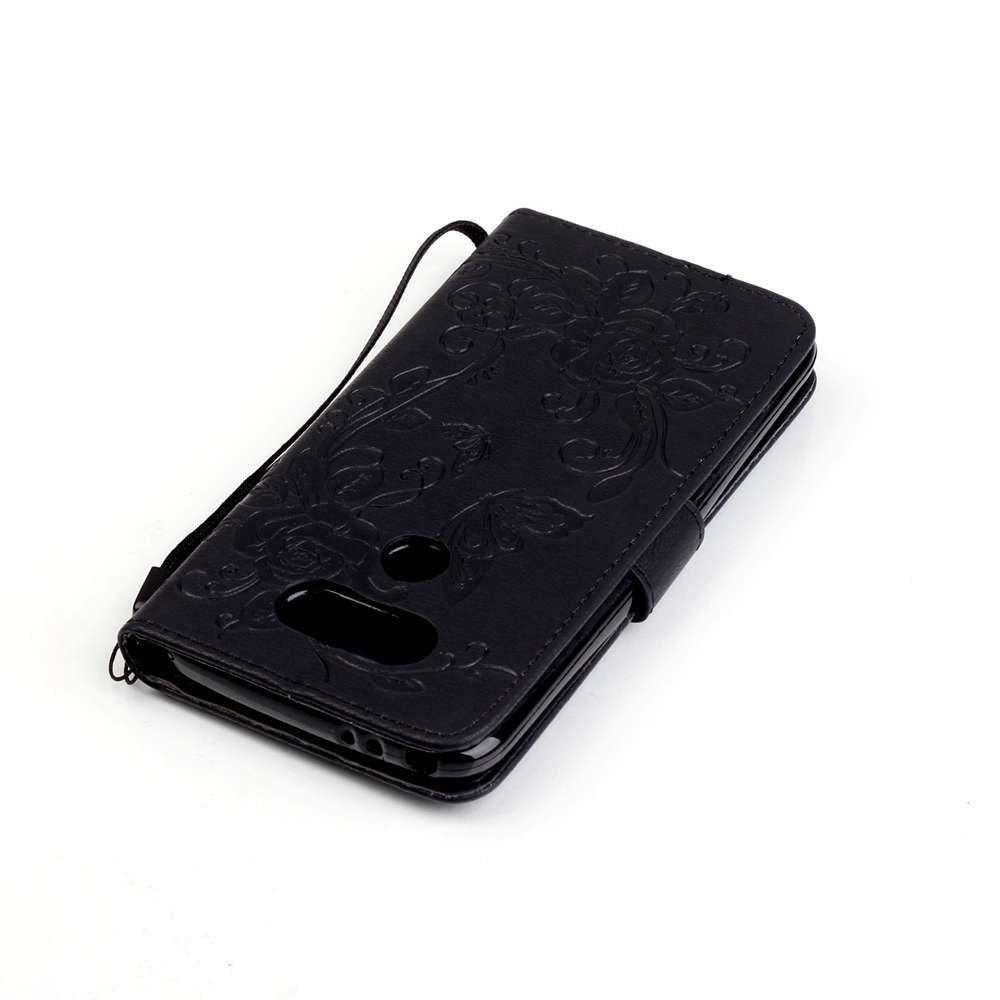 Embossed - Butterfly Flower PU Phone Case for  LG  G5 - BLACK