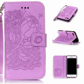 Double Embossed Rich Flowers PU TPU Phone Case for  iPhone 7 / 8 - PURPLE PURPLE