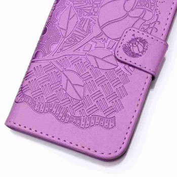 Double Embossed Rich Flowers PU TPU Phone Case for  iPhone 7 / 8 -  PURPLE